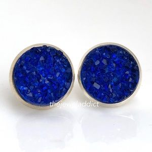 3 for $15🎀royal blue crystal faux druzy studs